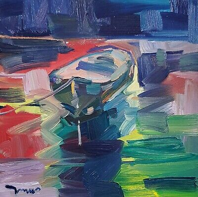 JOSE TRUJILLO Oil Painting Colorist Boat Expressionism ABSTRACT MODERN ARTIST