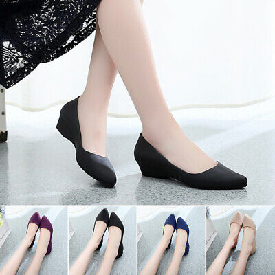 Women's Pointed Toe Office Work Slip On Sandals Non Skid Wedge Heel Comfy Shoes