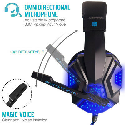 3.5mm Gaming Headset Wired Led Light Headphones Stereo with Mic for Xbox One/PS4