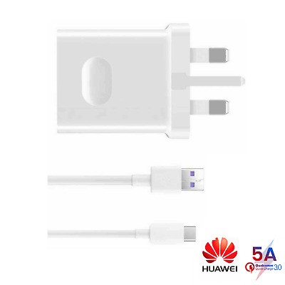 Genuine Huawei Super Fast Charger Plug 1M Type-C Cable For P20 P30 Mate 20 Pro X