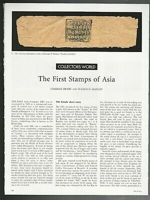 EARLY INDIA POSTAGE STAMPS, 2012 magazine article, info, color photos