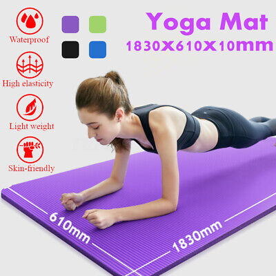 "Yoga & Exercise Mat Thick Non-Slip Workout Shock Absorbing Pad 72""x24"" x 10mm"