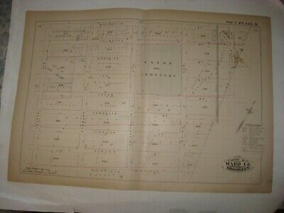 Antique 1880 Bushwick Brooklyn New York City Map Beer Brewery Union Cemetery Nr