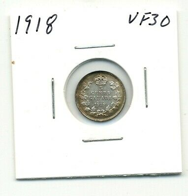 Coins. Canada. Five Cents. 1918 Very Fine+