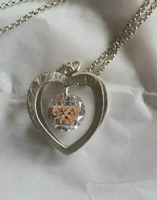 Hand Painted yorkshire terrier yorkie silvertone crystal heart charm necklace