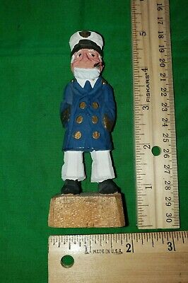 VTG WOOD WOODEN HAND CARVED SAILOR FISHERMAN /navy/captain STATUE mint