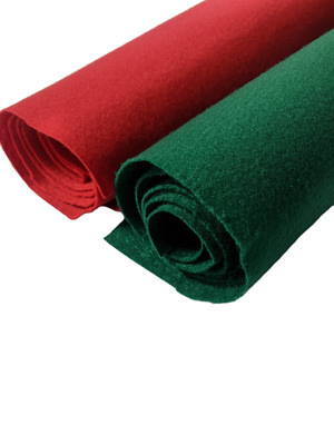 Soft Felt Fabric By The Metre for Sewing Material 150CM Craft Art Red/Green