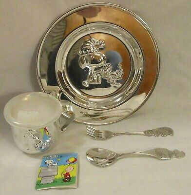 Godinger Silverplate Peanuts Snoopy Child Feeding Set Plate Cup Lid Spoon Fork