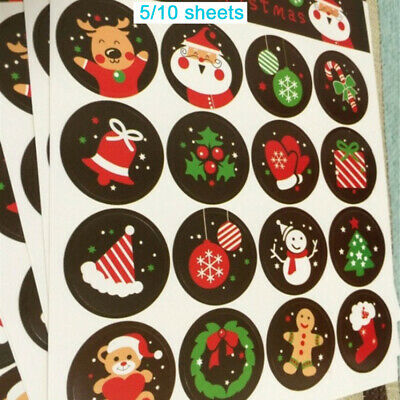 Label Stationery Cartoon Merry Xmas Santa Claus Christmas Stickers Snowman