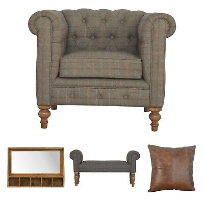 Art Deco Style Classic English Home Deal Wood Arm Chair Cushion Mirror Bench