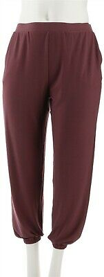 Lisa Rinna Collection Knit Cropped Jogger Pants Plum Wine S NEW A341719