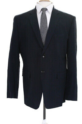 Theory Mens Two Button Notched Lapel Blazer Jacket Blue Wool Size 46