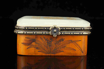China Old Collectible Hand Engraving  Inlaid With Jade Jewelry Box Gift