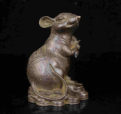 China Old Collectible Hand Engraving Bronze Lucky Mouse Statue Gift Desktop Deco