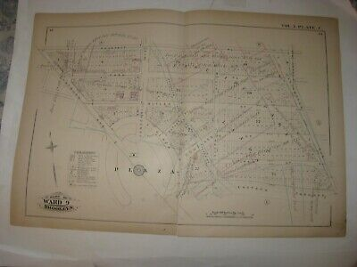 Antique 1880 Prospect Heights Brooklyn New York City Handcoolor Map Large Plaza