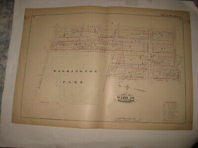 Antique 1880 Fort Greene Brooklyn New York City Handcolored Map Large Park Rare