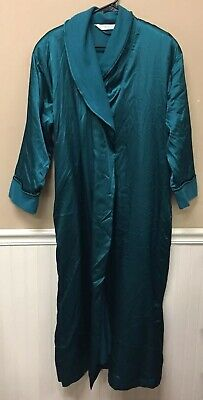 Vintage VICTORIAS SECRET Lingerie Emerald Green Silky And Flannel Lined Robe