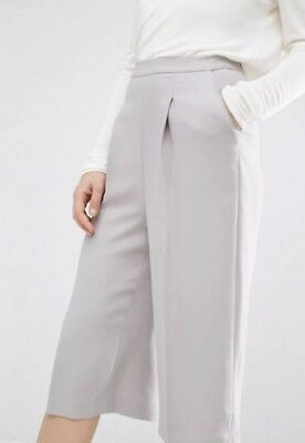 NWT $245 REISS Cally Wide Leg Culottes Cropped Trousers Warm Gray Size 0 XS