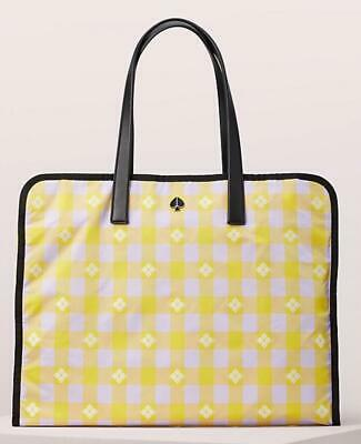 KATE SPADE Morley Tote Bag XL Yellow Chartreuse Check Travel Weekender Dustbag