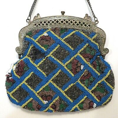 Vintage Antique Beaded Purse Egyptian Revival Frame Sphinx for parts or repair