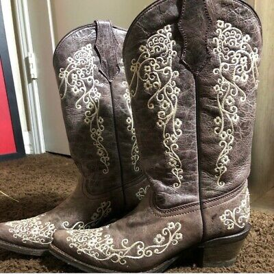 KIDS YOUTH CORRAL COWGIRL BOOTS A2773-FLORAL EMBROIDERED-FREE SHIPPING! NIB