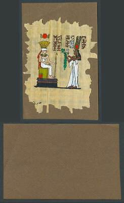 Egypt Genuine Hand Painted Papyrus on Old Card Novelty Egyptian Art King & Queen