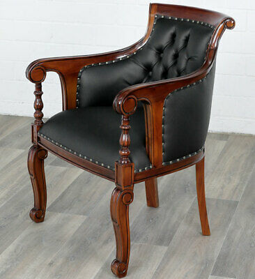 Mahagoni Chesterfield Sitzmöbel Massivholz Club Sessel Continental Library Chair