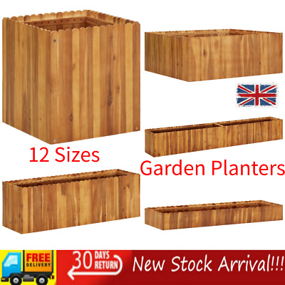 Wooden Garden Planters Outdoor Plant Flower Pot Plant Bed Display Basket Box New