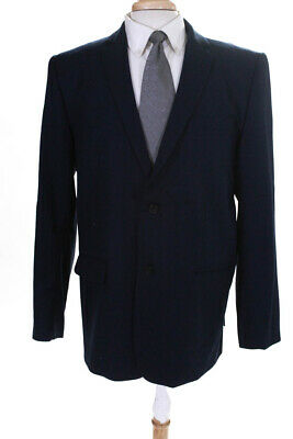 Sprayground Mens Two Button Notched Lapel Blazer Navy Blue Wool Size 48