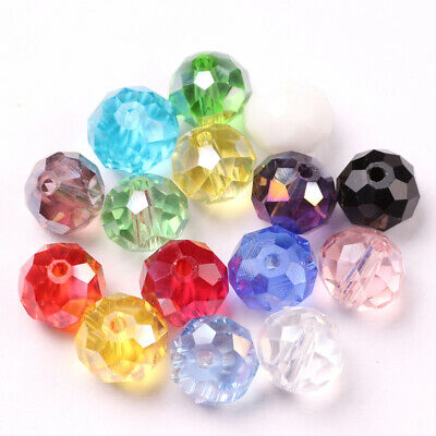 4/6/8/10mm Jewelry Faceted Rondelle Glass Crystal Flat Spacer Beads AB Color B01