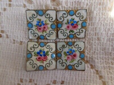 PRETTY ANTIQUE VICTORIAN FRENCH PINK ROSES VIOLETS FLORAL ENAMEL BUTTON SET of 4