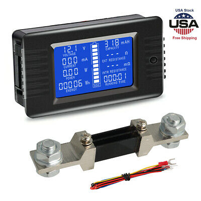 LCD Display DC Battery Monitor Meter 0-200V Volt Amp For Car RV Solar System US