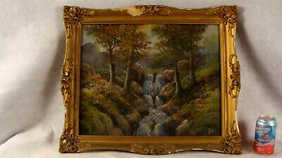 Antique Signed Mountain Waterfall Landscape Pastel Painting