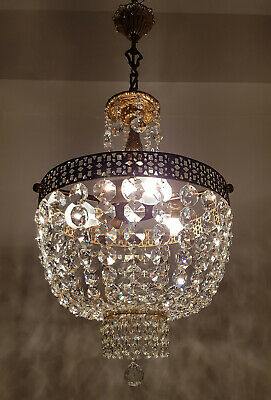 Antique Vintage Brass & Crystals French Chandelier Lighting Ceiling Lamp Light