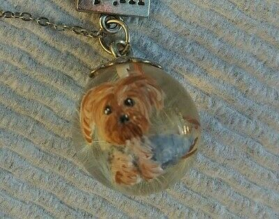 Hand Painted yorkshire terrier yorkie silvertone WISH charm necklace