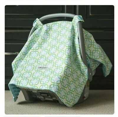 Carseat Canopy Reversible Minky Blue Hayden Soft Bumpy Cover Baby boy girl