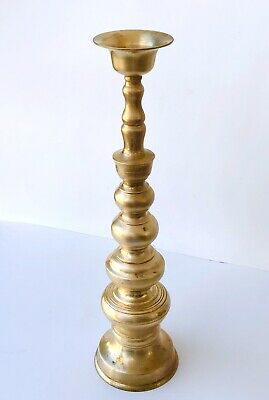 """Brass Candle Stick 18"""" x 5"""" Homco Japan Candle Holders Altar Wedding Vintage"""