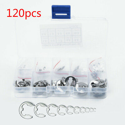 X120 304 Stainless Steel E-Clip Retaining Circlip Assortment Kit 1.5mm to 10mm