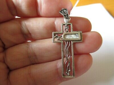 Ancient Large 925 Silver Cross Necklace with Ancient Roman Glass Made in Israel