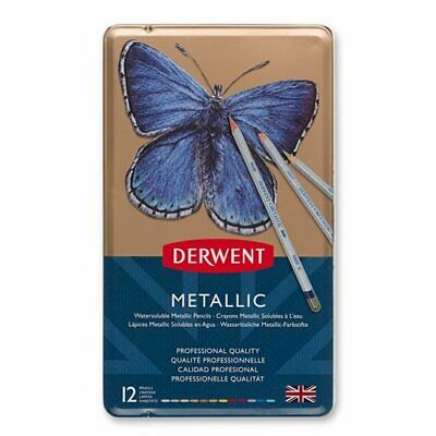 Derwent Set of 12 Metallic Watercolour Pencils 0700456 Professional Quality