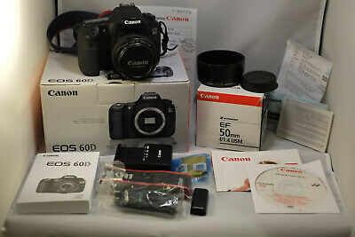 Near Mint Canon EOS 60D Boxed with Canon 50mm 1:1.4 USM BOXED 32 GB SD Card