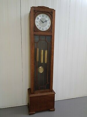 1920s oak cased art deco style Westminster chime grandfather clock by Enfield