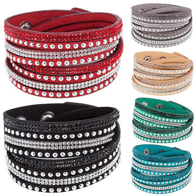 Women Faux Leather Shiny Hot Fix Rhinestone Inlaid DIY Multilayer Bracelet Hot