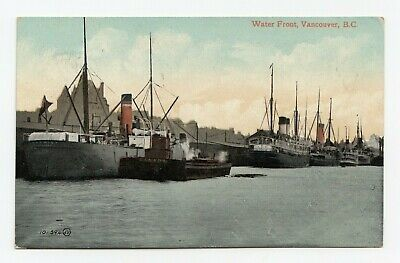 Cargo Steamers Waterfront VANCOUVER British Columbia Canada 1908 Valentine