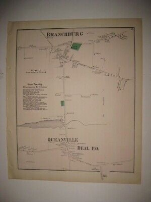 Antique 1873 Branchburg Ocean Deal Monmouth County New Jersey Handcolored Map Nr