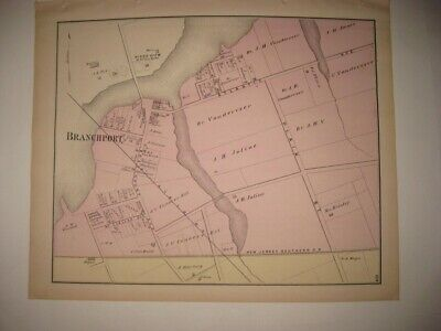 Antique 1873 Branchport Long Branch Monmouth County New Jersey Handcolored Map N
