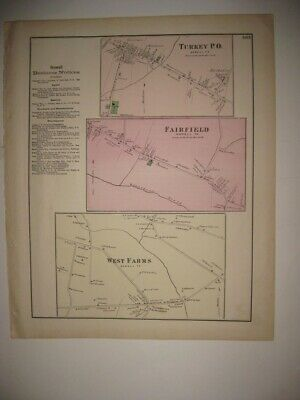 Antique 1873 Turkey Fairfield West Farms Howell Township New Jersey Handcolr Map