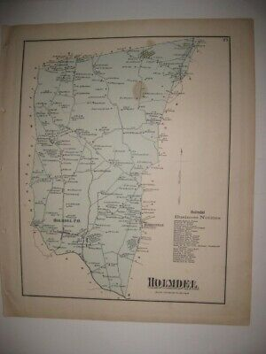 Antique 1873 Holmdel Township Monmouth County New Jersey Handcolored Map Rare Nr