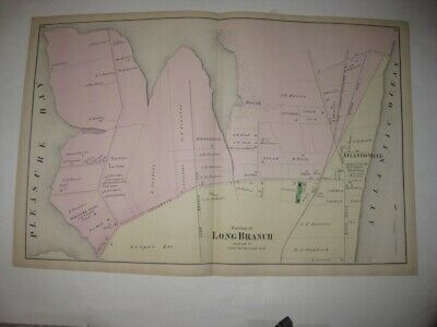Antique 1873 Long Branch Atlanticville Monmouth County New Jersey Handcolor Map
