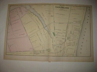Antique 1873 Long Branch Monmouth County New Jersey Handcolored Map W Hotels Nr